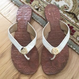 Tory Burch Thora white leather sandal flats